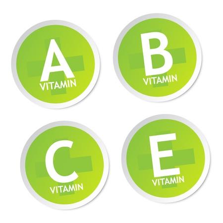 La vitamine A, B, C et E autocollants Vecteurs
