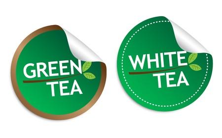 Green tea and White tea stickers Stock Vector - 16850678