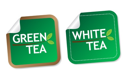 Green tea and White tea stickers Stock Vector - 16850736