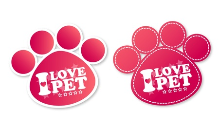 veterinary medicine: Paw print stickers with text I love pet and stars Illustration