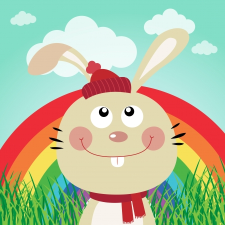 Rabbit with rainbow in the forest Stock Vector - 16850734