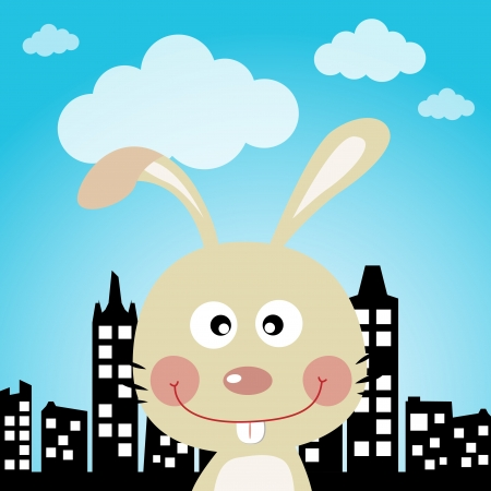 Rabbit in the city Stock Vector - 16850659
