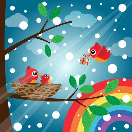 Christmas birds family with rainbow Stock Vector - 16988628
