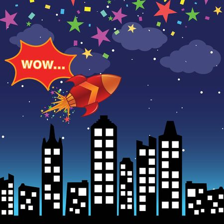 Flying rocket in the night city Stock Vector - 16988623