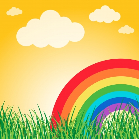 Summer landscape with rainbow Stock Vector - 16988616