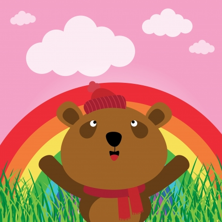 Brown bear with rainbow in the forest Stock Vector - 17457583