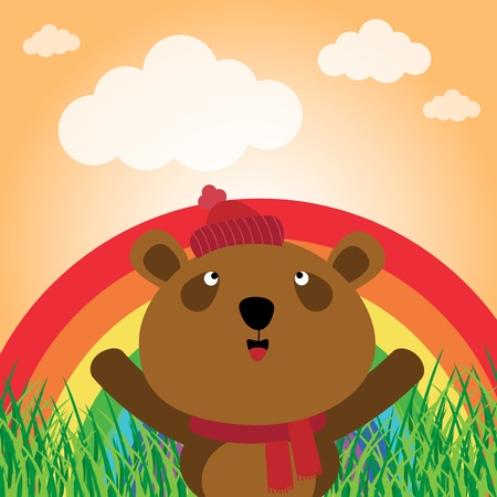 Brown bear with rainbow in the forest Stock Vector - 17457584