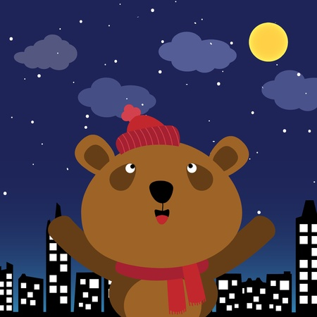 Brown bear in the city at night Vector