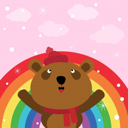 Brown bear in the sky with rainbow Vector