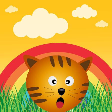 Cat in the forest with rainbow Stock Vector - 17457585