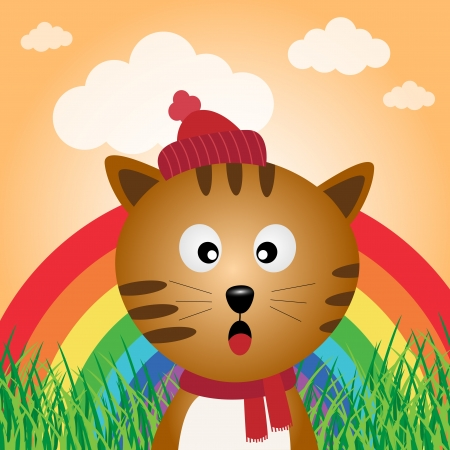 Cat in the forest with rainbow Stock Vector - 17588886