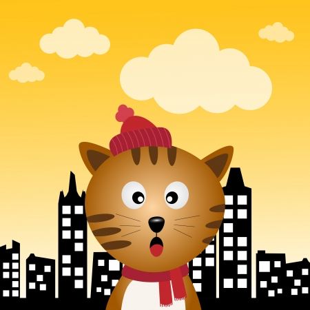 Cat in the city Stock Vector - 17588883