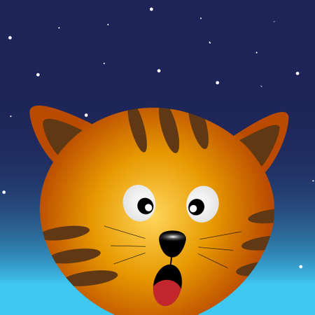 Cat in the night sky Stock Vector - 17588879