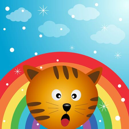 Cat in the sky with rainbow Illustration