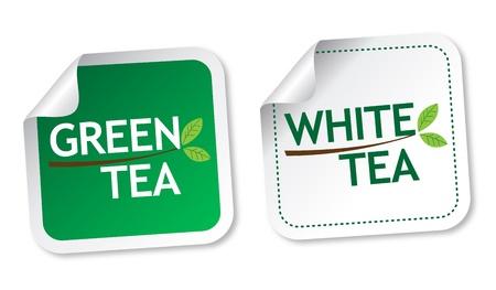 Green tea and White tea stickers Stock Vector - 17588888