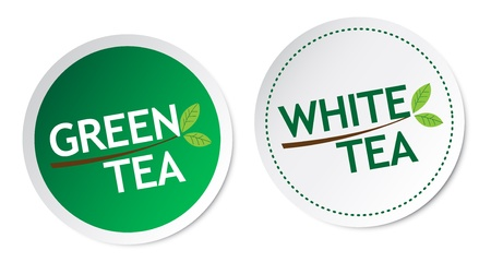 Green tea and White tea stickers Stock Vector - 17588884