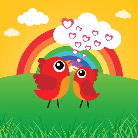 Love bird with hearts and rainbow Stock Vector - 17747536