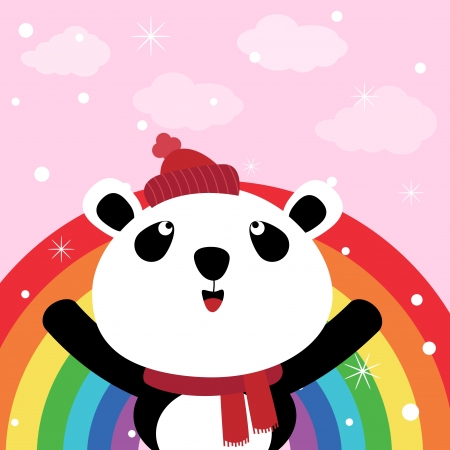 Panda and rainbow in the sky