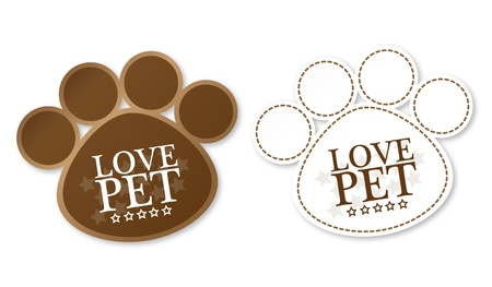 Paw print stickers with text love pet and stars Illustration