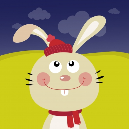 catoon: Cute rabbit in the forest