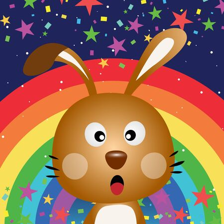 Cute rabbit in the night sky with rainbow Stock Vector - 17841845