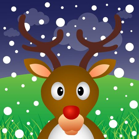 Reindeer and snow in the forest Stock Vector - 17973229