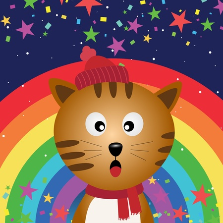 Cat in the night sky with rainbow Stock Vector - 18056885