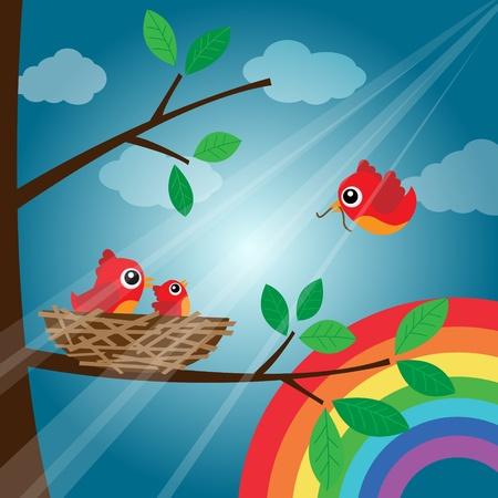 Loving bird feeding with rainbow Stock Vector - 18056896