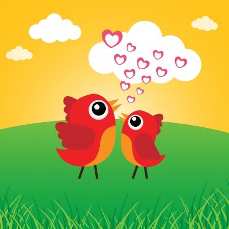Love bird with hearts Stock Vector - 18056881