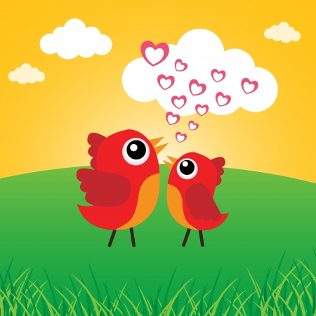 Love bird with hearts Stock Vector - 18056881