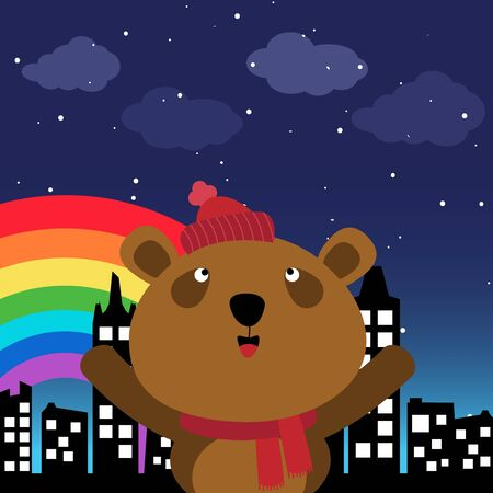 Brown bear in the city at night Stock Vector - 18127494