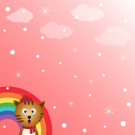 Cat in the sky with rainbow Stock Vector - 18127495