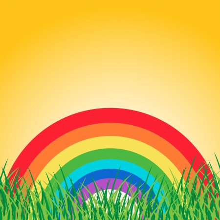 Summer landscape with rainbow Stock Vector - 18127496