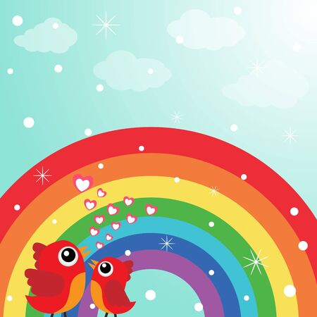Love bird with hearts and rainbow Stock Vector - 18240259