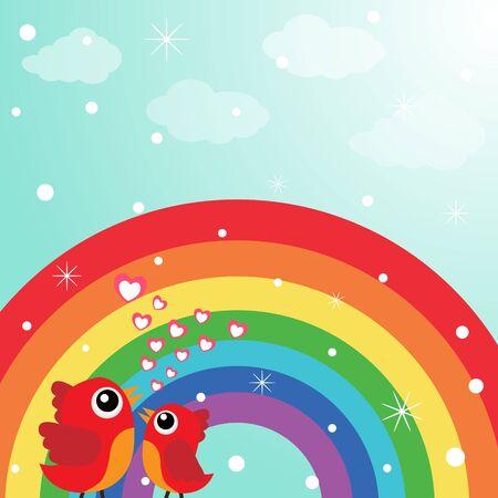 Love bird with hearts and rainbow Stock Vector - 18240259