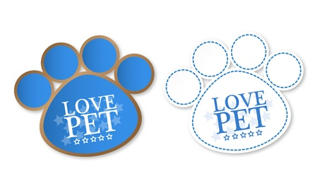 Paw print stickers with text love pet and stars Stock Vector - 18240264