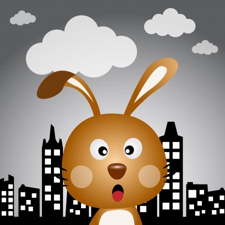 lapin silhouette: Lapin dans la ville Illustration