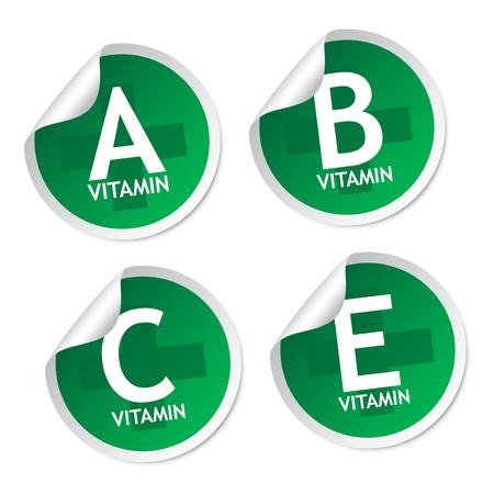 Vitamin A, B, C and E stickers Stock Vector - 18240257