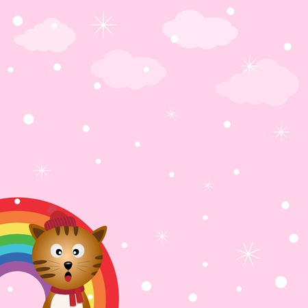 Cat in the sky with rainbow Stock Vector - 18382312