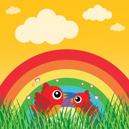 Love bird with hearts and rainbow