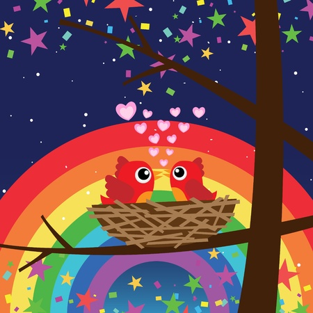 Birds in love with rainbow at night Stock Vector - 18587272
