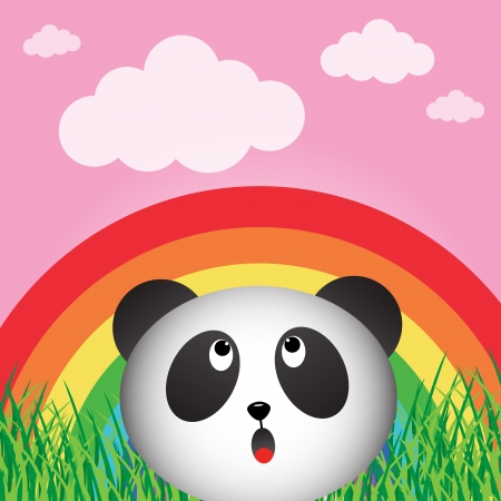 Panda with rainbow in the forest Stock Vector - 18539608