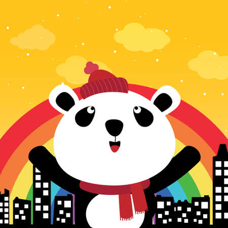 Panda and rainbow in the city Vector