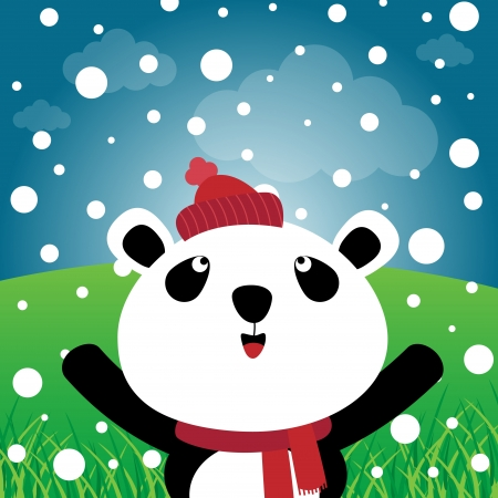 Panda with snow in the forest Stock Vector - 18587279