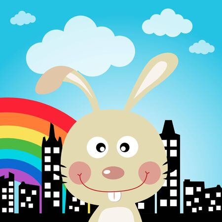 Rabbit in the city Vector