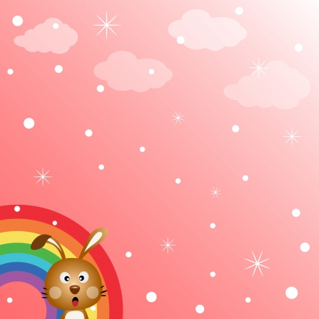 Rabbit in the sky with rainbow Stock Vector - 18731058