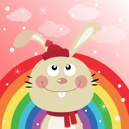 Rabbit in the sky with rainbow Stock Vector - 18731059