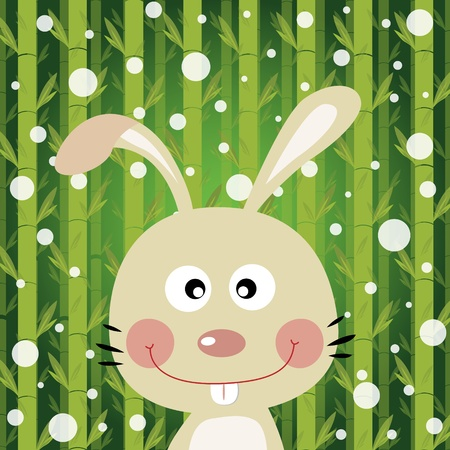 Rabbit and snow on bamboo background Stock Vector - 18731072