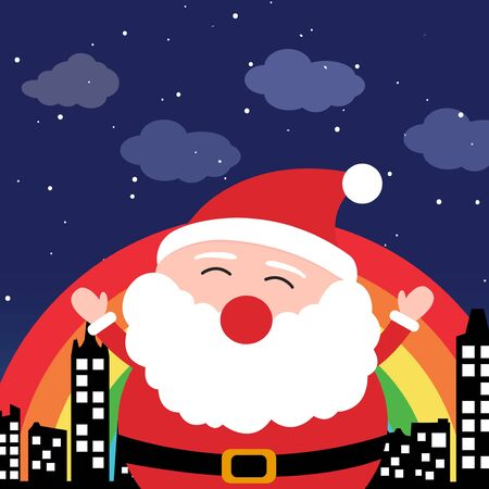Santa Claus in the city at night Stock Vector - 18731067