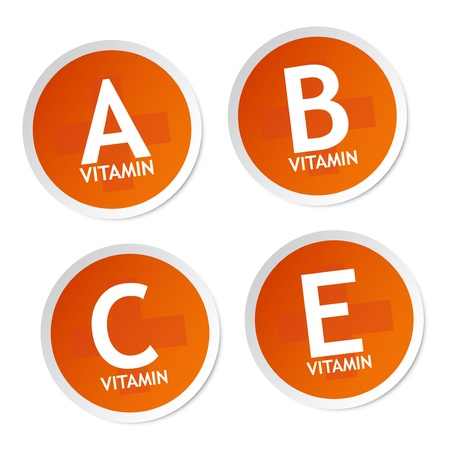 Vitamin A, B, C and E stickers Stock Vector - 18731046